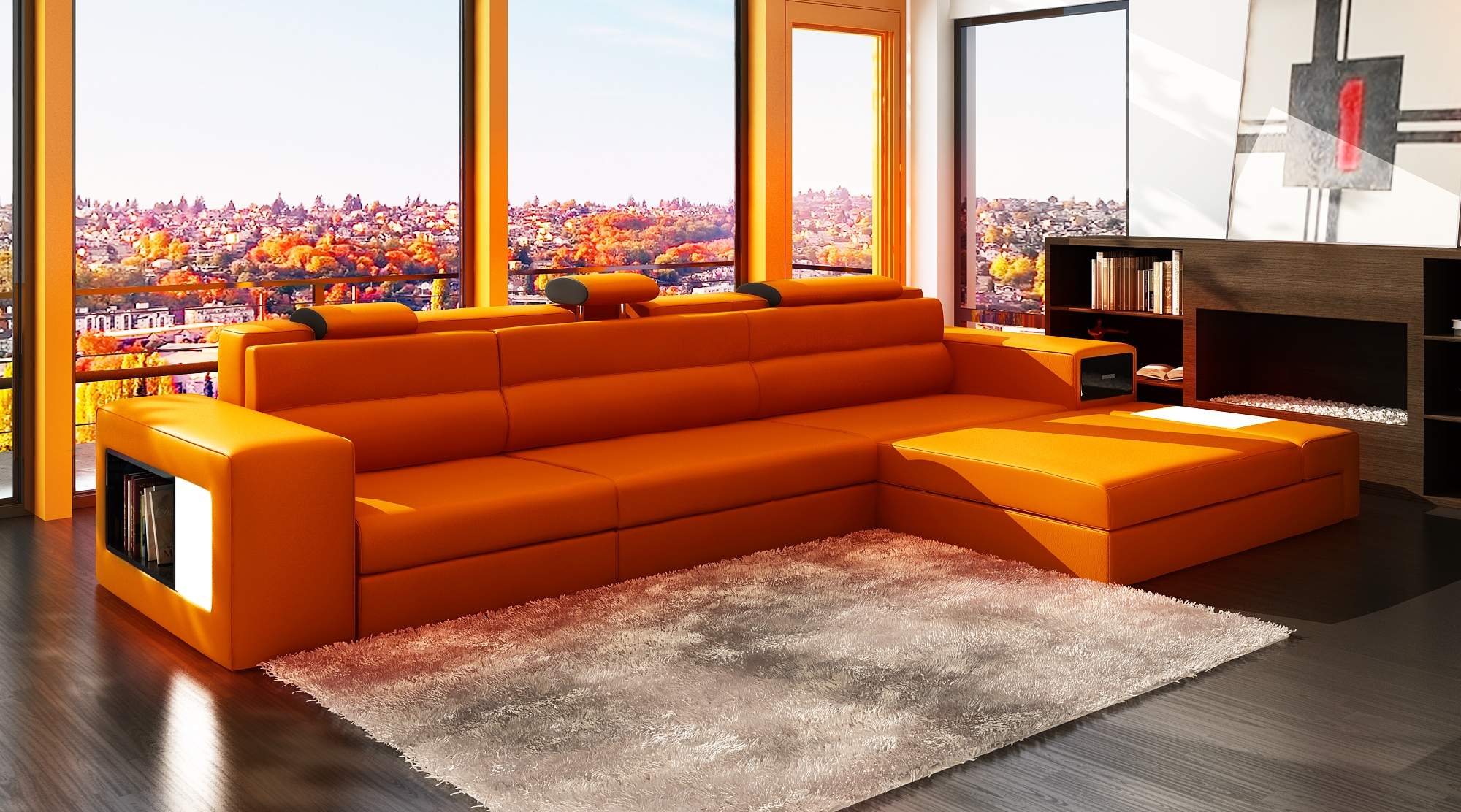 DECO IN PARIS Canape d angle meri nne orange design en
