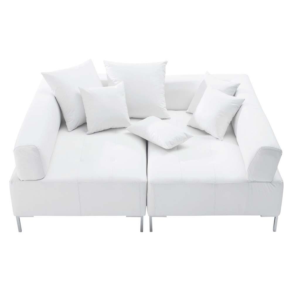 Canapé modulable 4 places imitation cuir blanc Duo