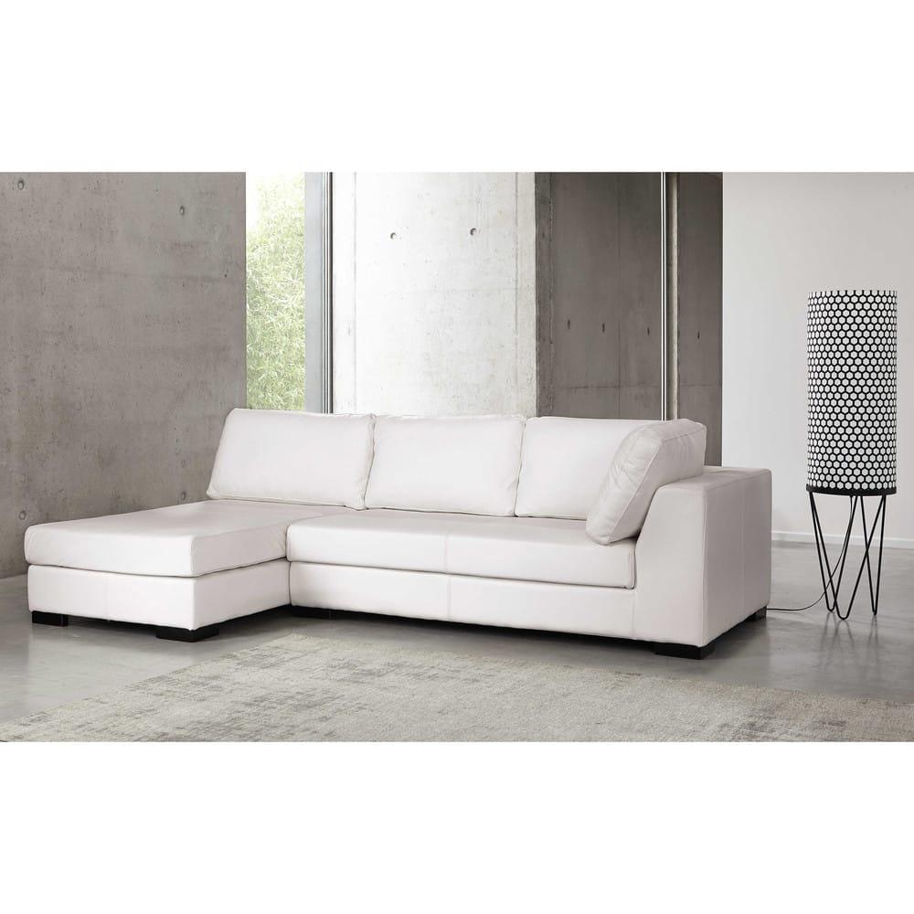 Canapé modulable droit en cuir blanc Terence