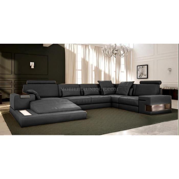 Canapé cuir gris anthracite panoramique design Achat