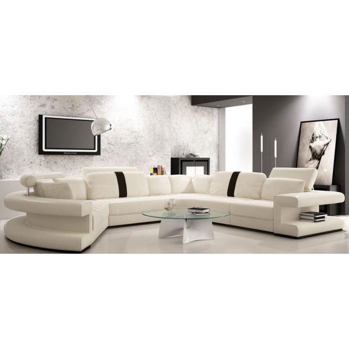 Canapé cuir Panoramique arrondi Blanc et noir Achat
