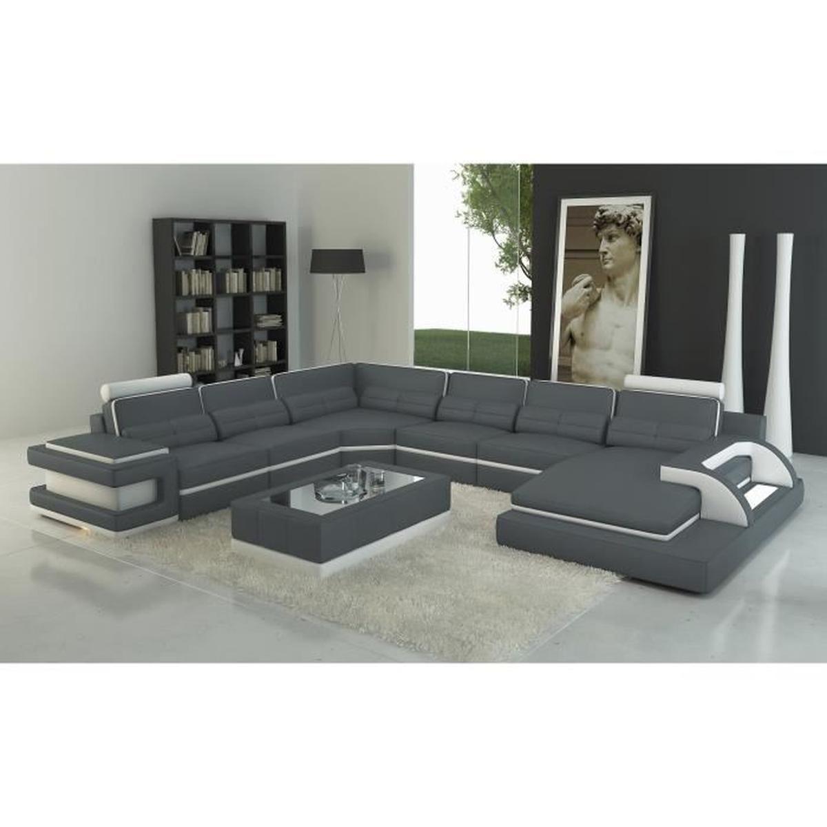 Canapé panoramique cuir gris et blanc design avec lumière