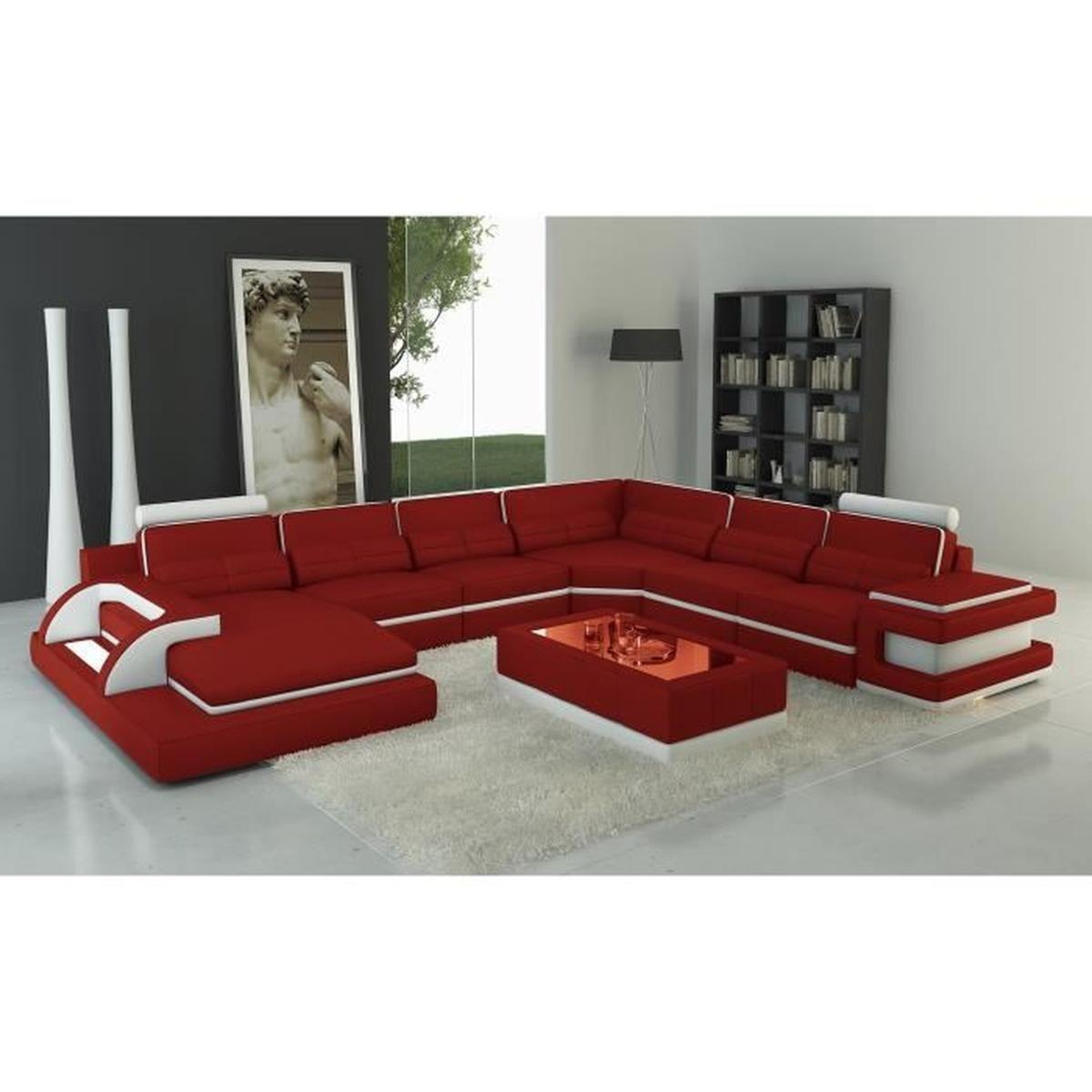 Canapé panoramique cuir rouge et blanc design avec lumière
