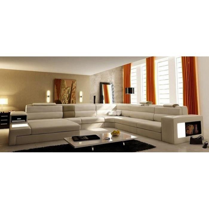 Canapé panoramique en cuir beige angle gauche Achat