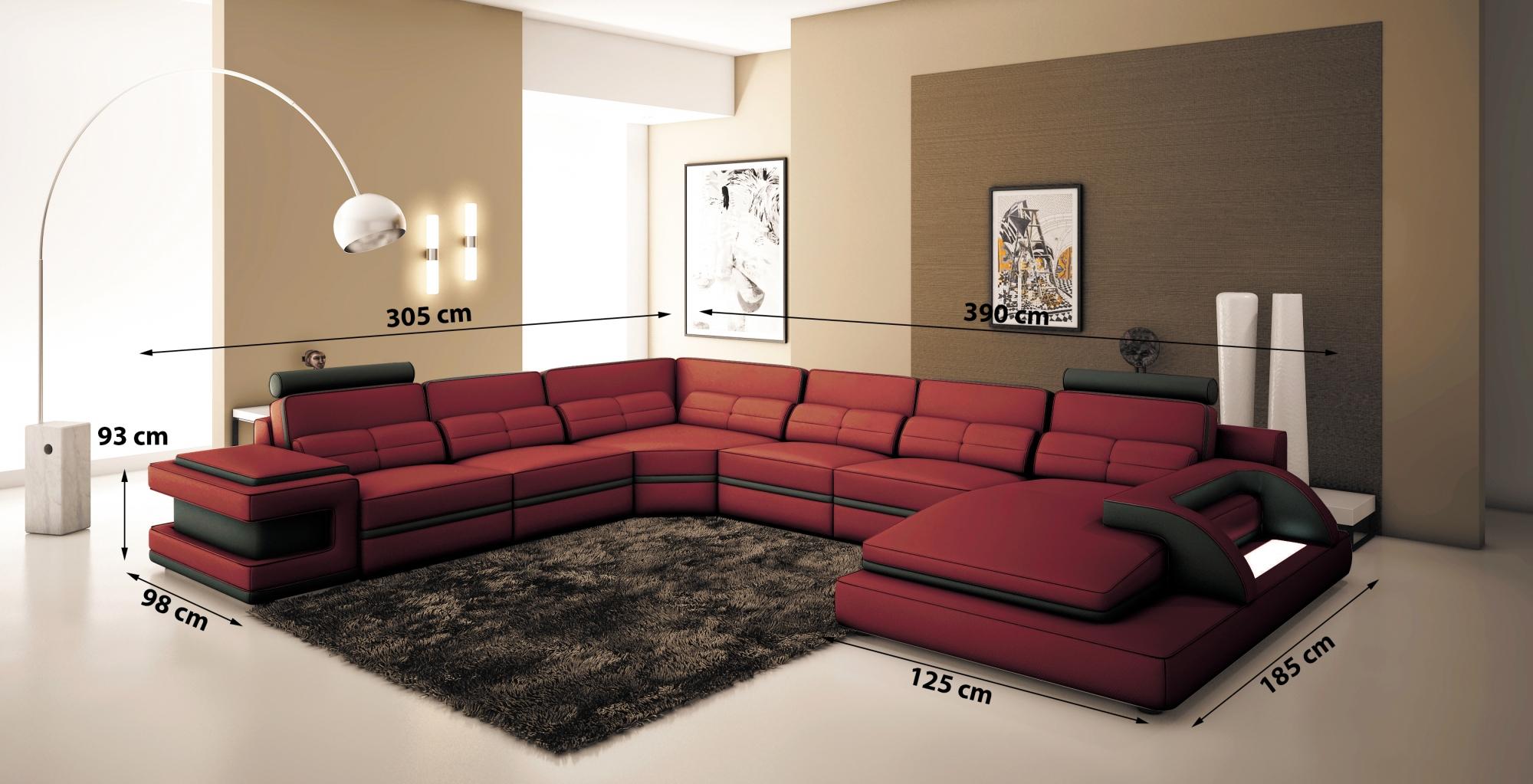 DECO IN PARIS Canape panoramique cuir rouge et noir