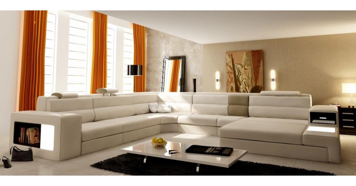 DECO IN PARIS Canape panoramique en cuir beige angle