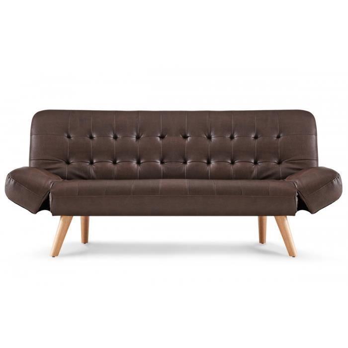 Canapé convertible scandinave simili cuir chocolat Achat