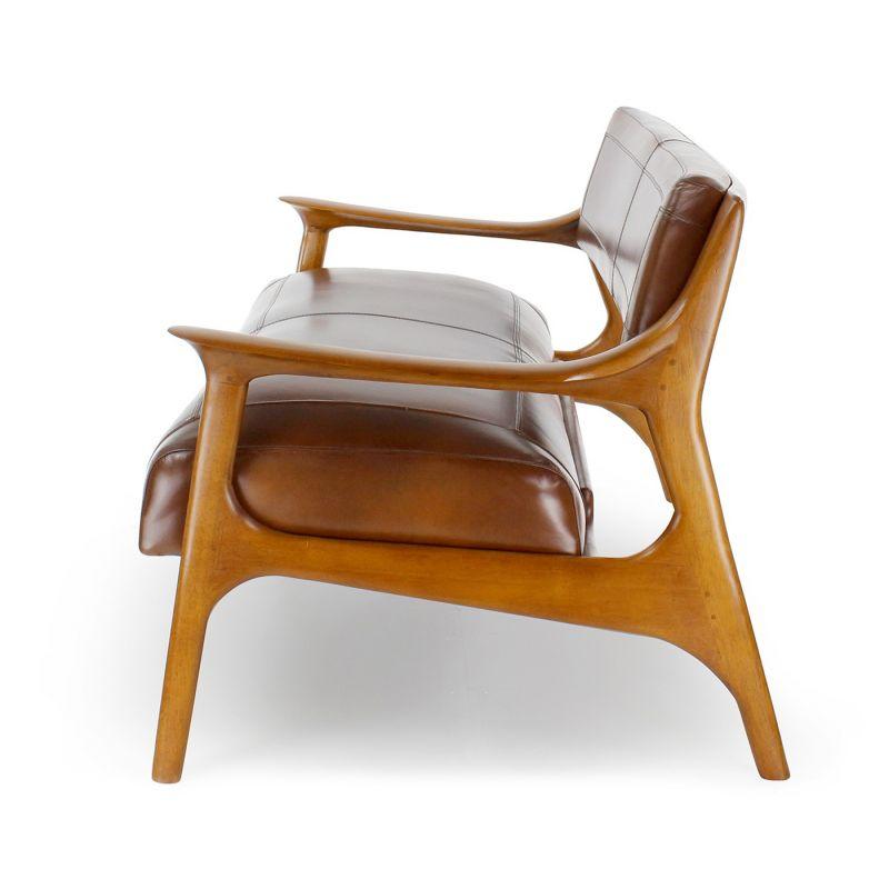 Canapé design scandinave cuir marron 2 places