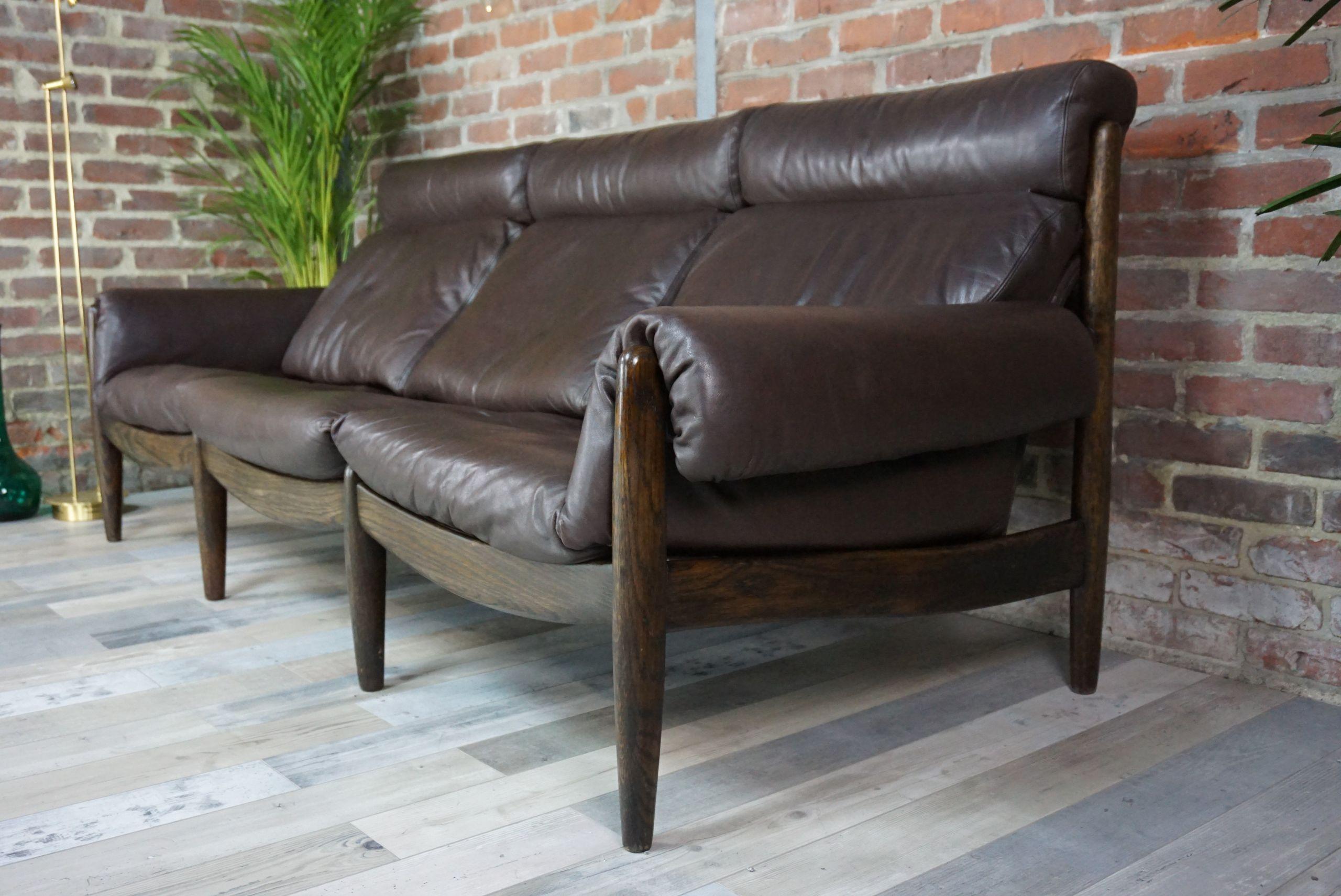 Canapé scandinave 3 places cuir et bois