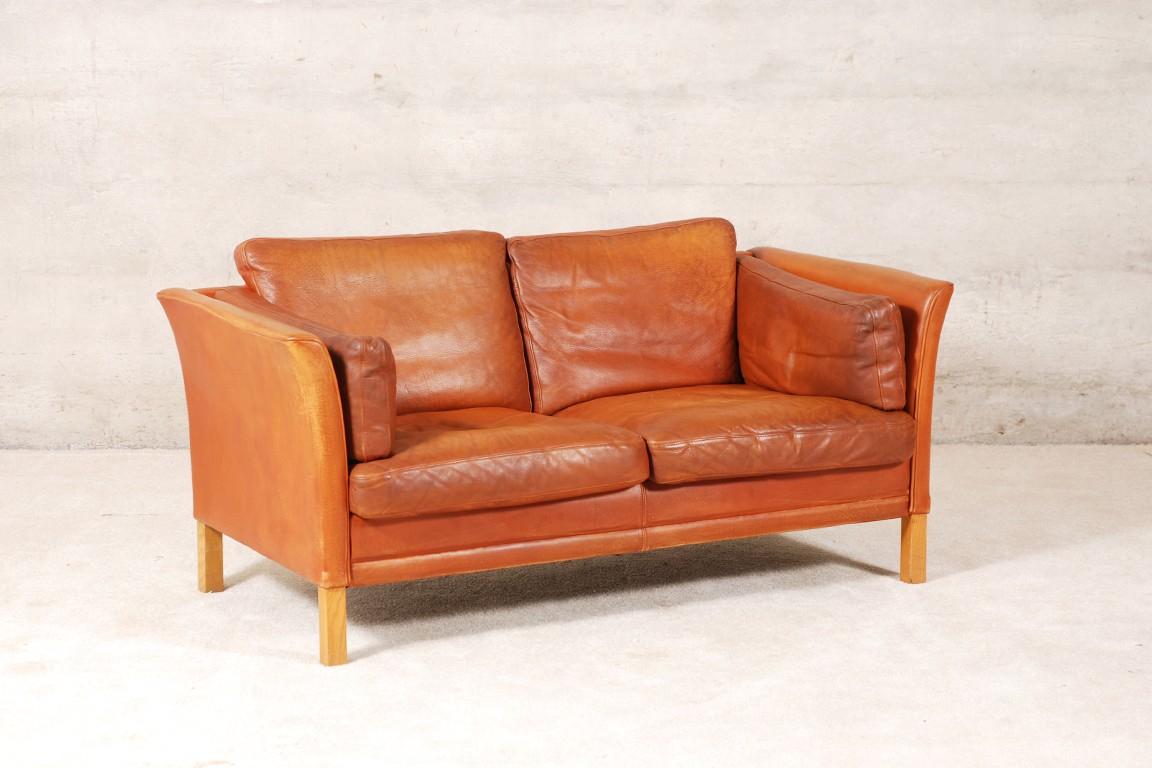 Canapé Scandinave en cuir fauve 1960 Design Market