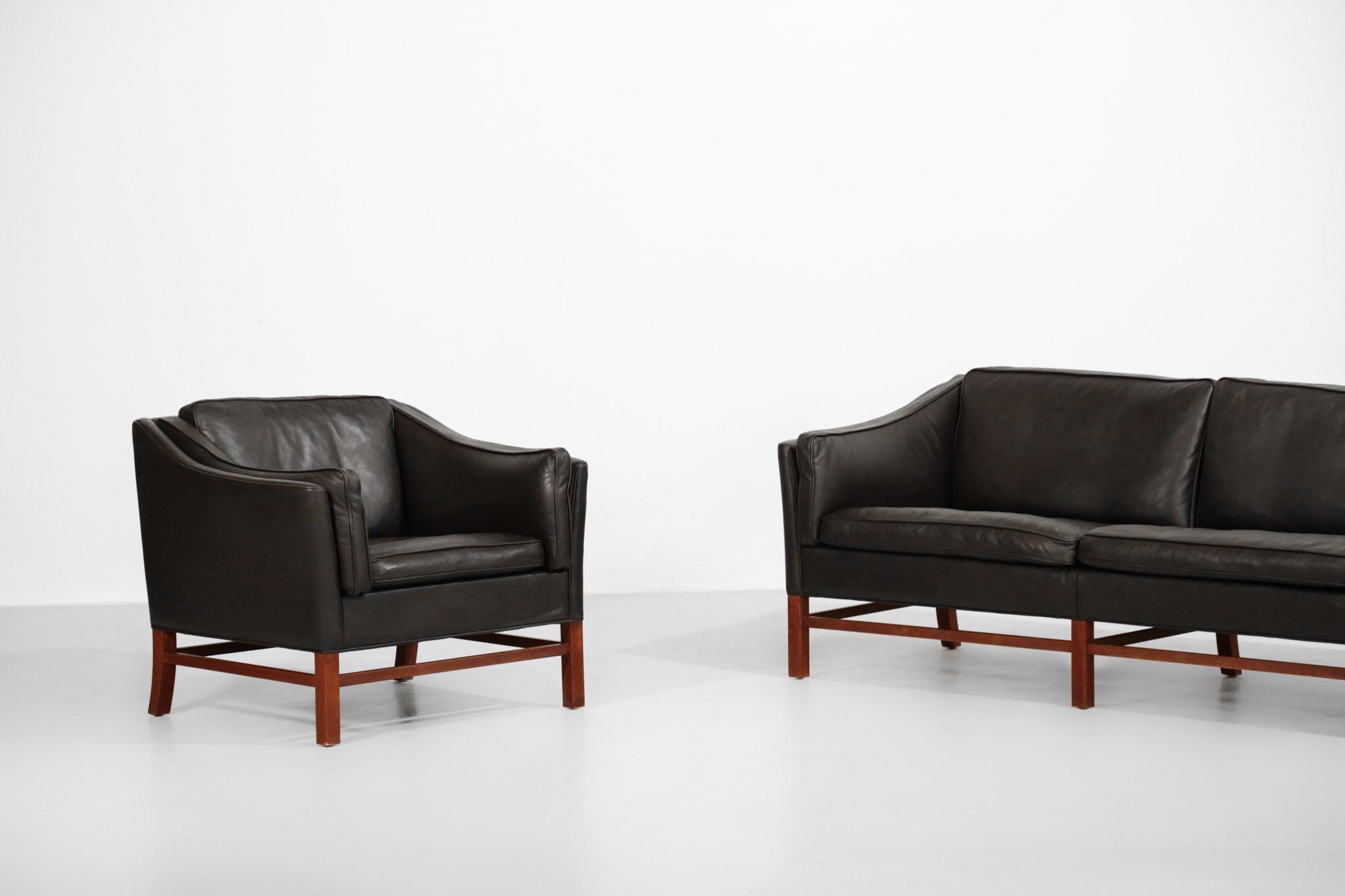 Salon danois fauteuil et canapé sofa scandinave cuir
