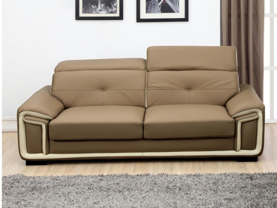 Canapé 3 places en cuir taupe et liseré blanc MAYA