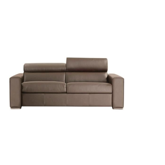 Canapé Convertible OMEGA Vrai Cuir Taupe 120x190 Achat