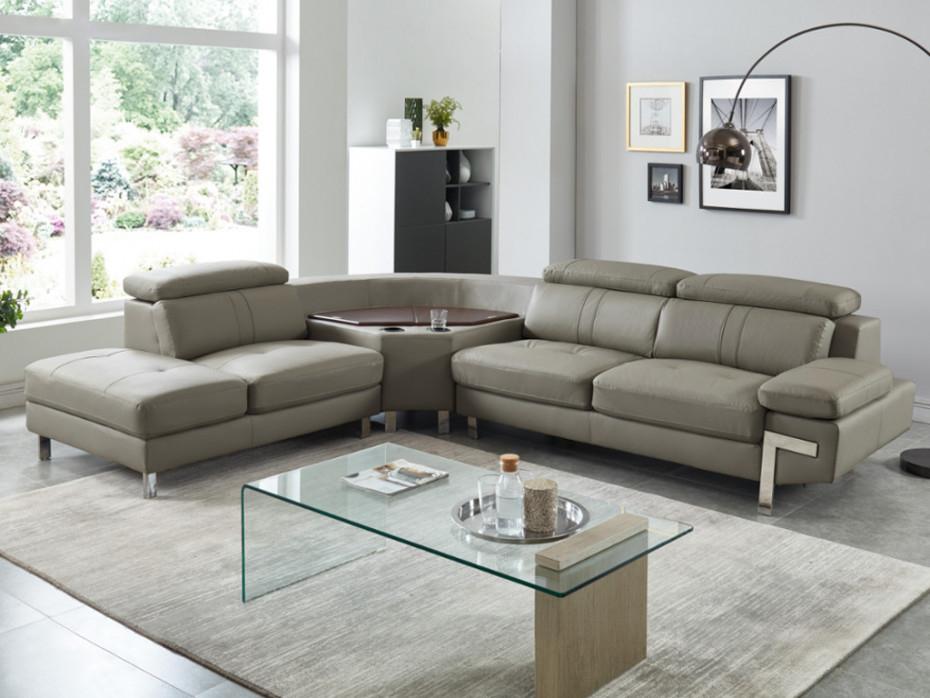 Canapé d angle gauche en cuir taupe avec rangement SLOANE
