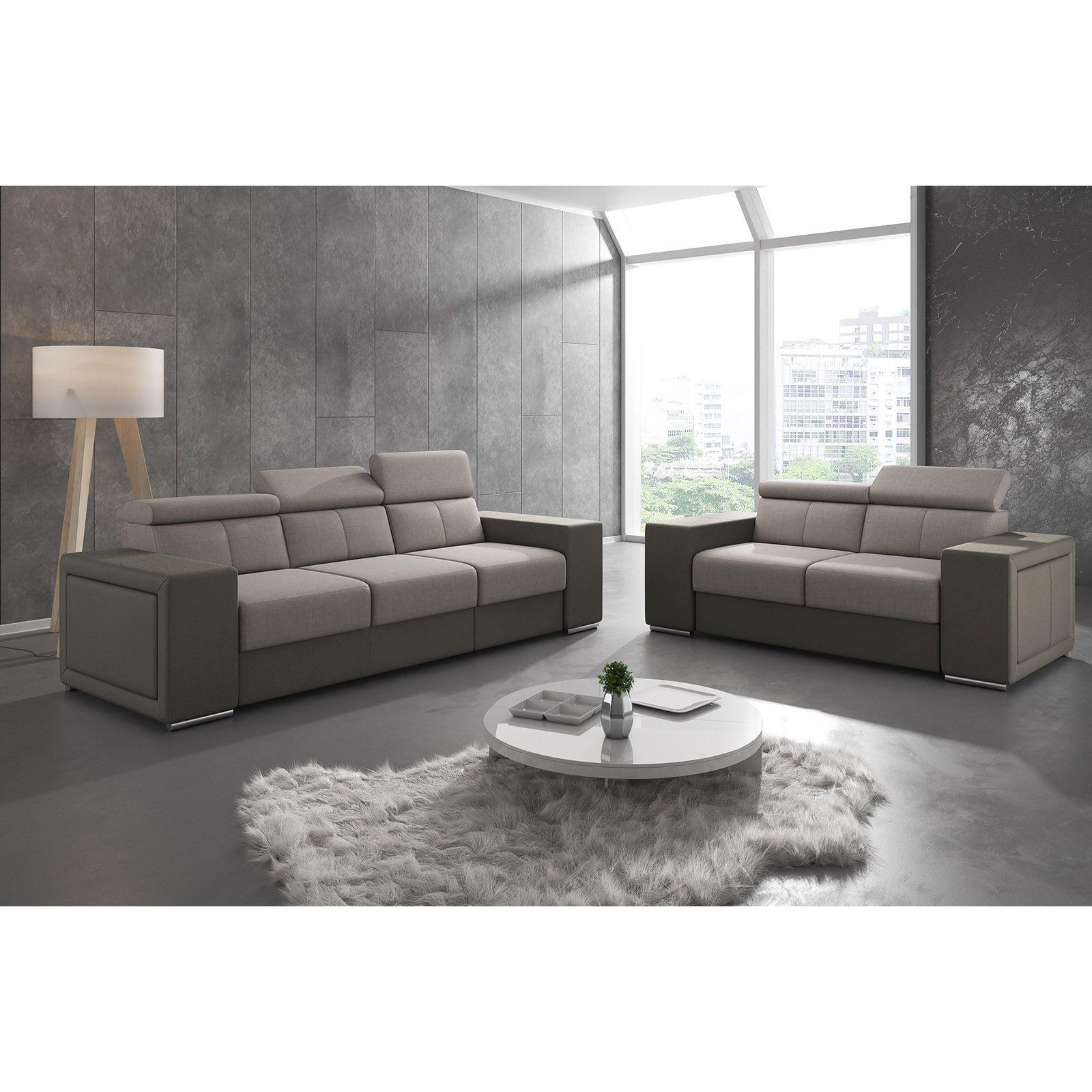 Salon Canapé moderne 2 places en tissu marron clair et