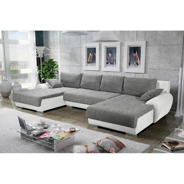 Canapé d angle convertible en U TEREN gris et blanc