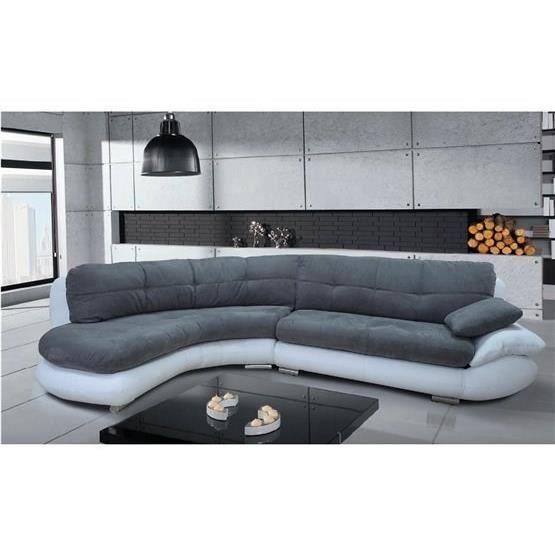 Canapé d angle Regal gris et blanc Angle gauche Achat