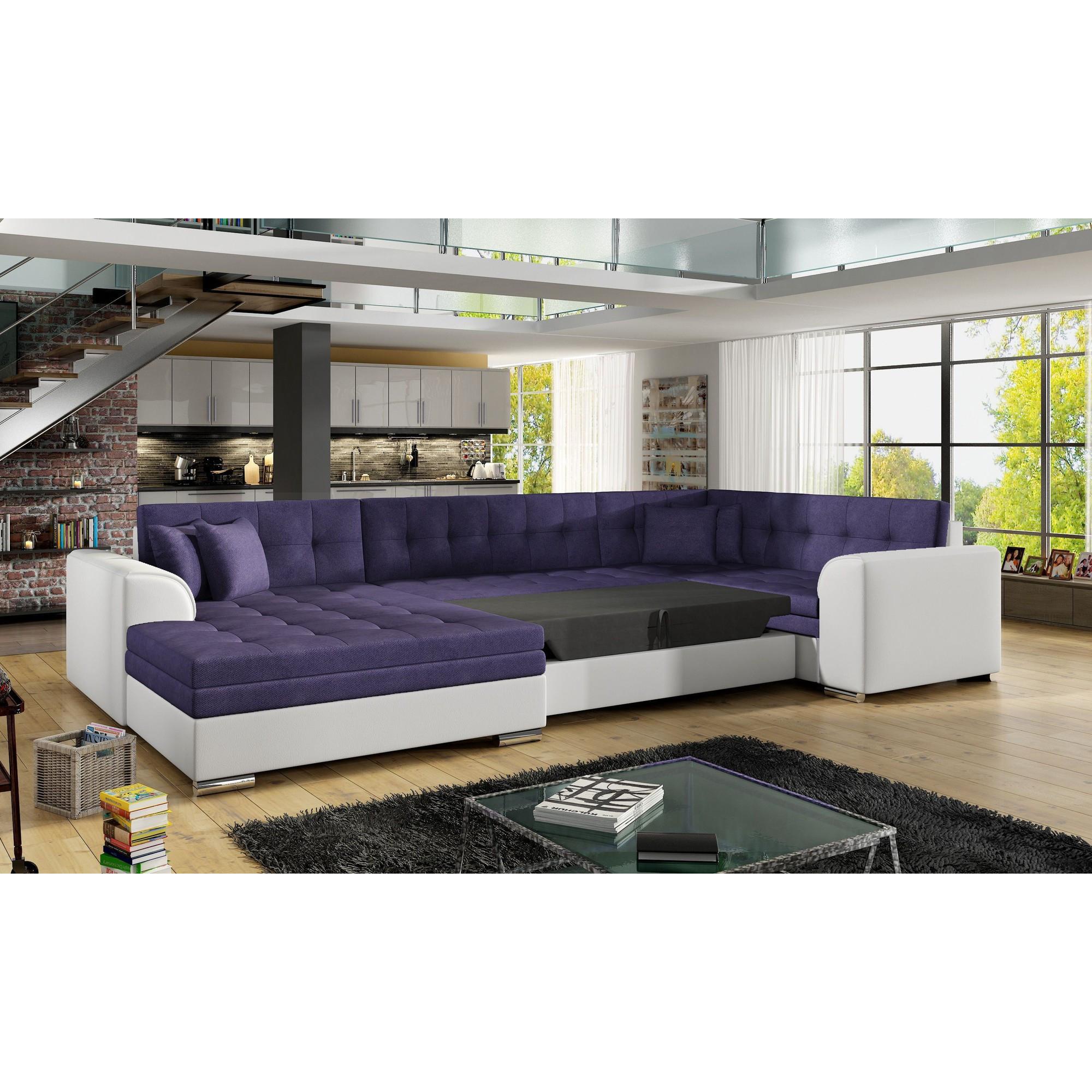 Canapé d angle convertible 6 places en tissu cappuccino et