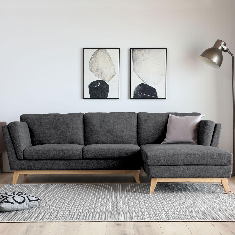 Canapé d angle droit scandinave 4 places gris foncé avec