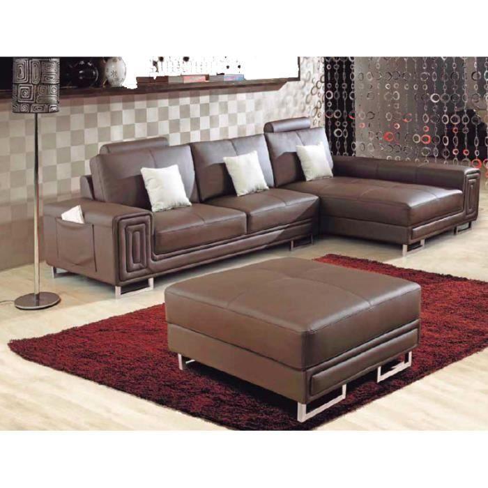 Canapé d angle marron en cuir avec méri nne Achat