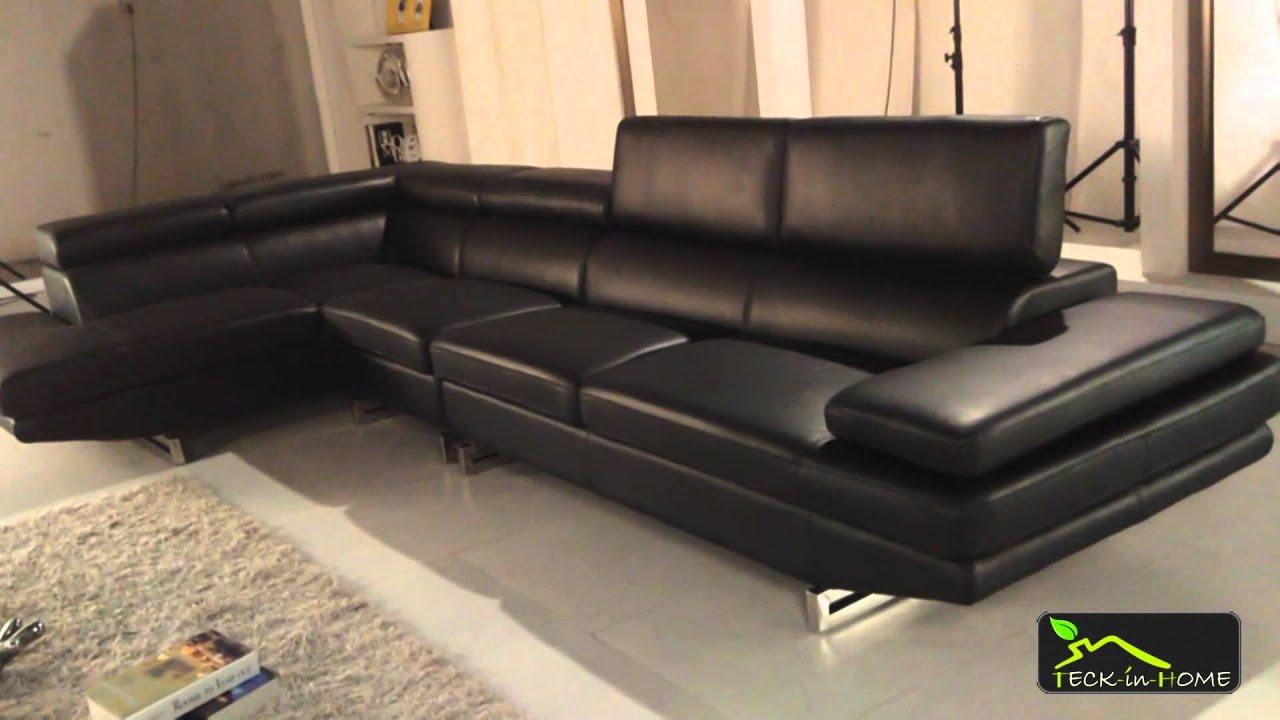 Canapé d angle Milano en cuir noir 4 places avec
