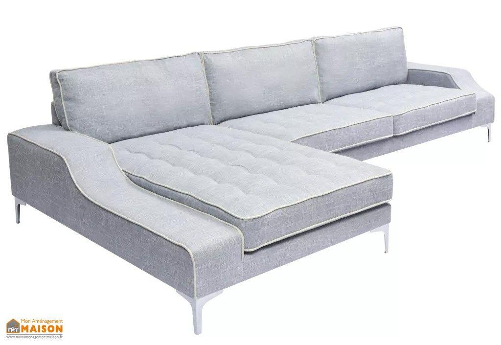 Canapé d'Angle avec Méri nne 4 6 Places Tissu Gris 3m