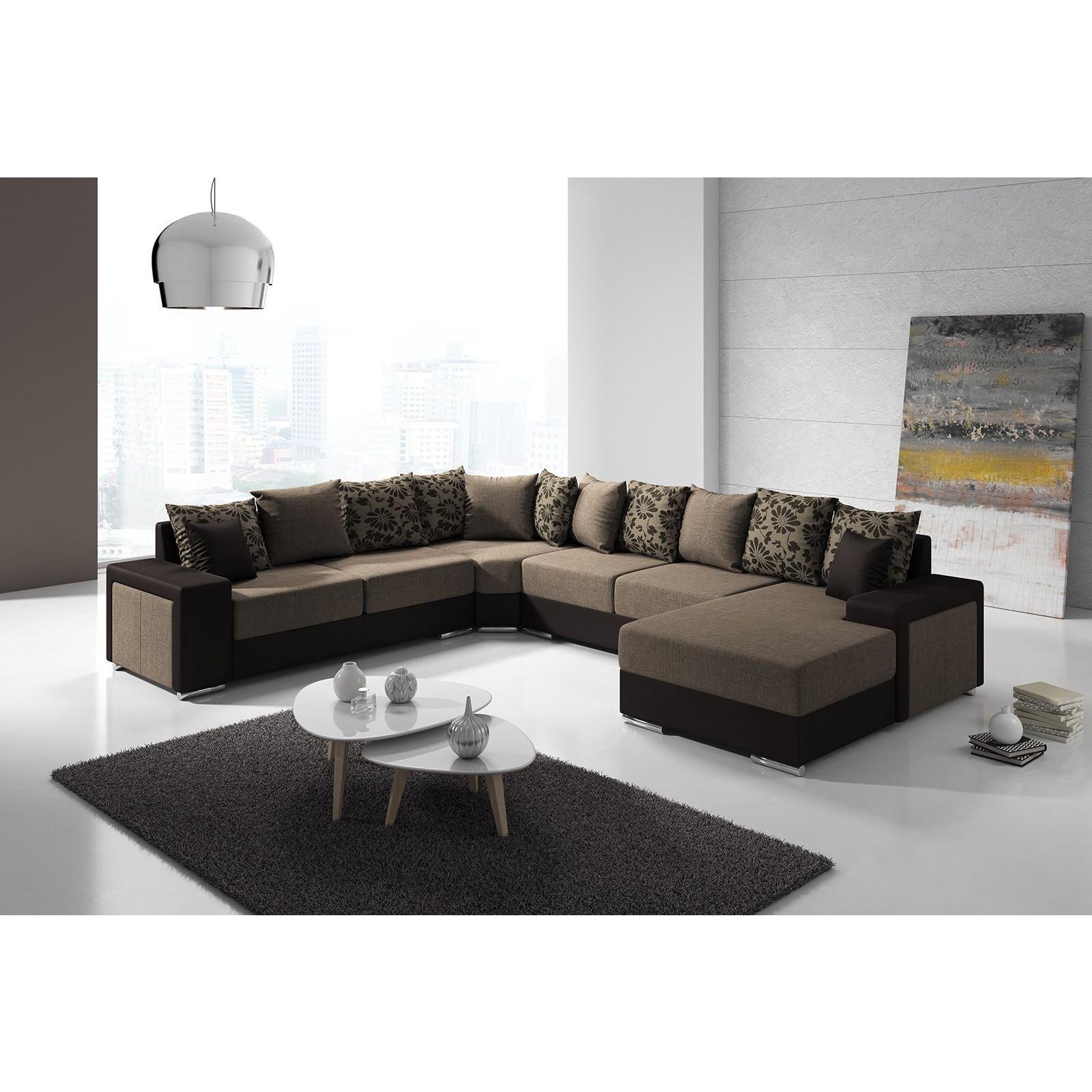 Salon Canapé d angle moderne en tissu et simili cuir