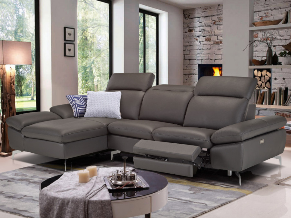 Canapé d angle relax electrique cuir avec têtières MARSALA