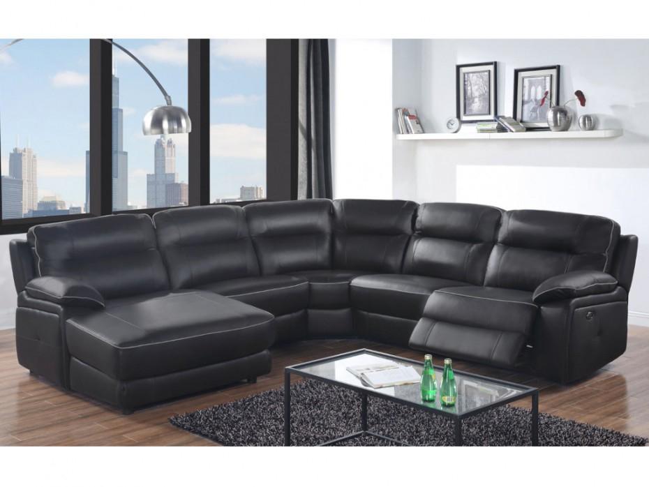 Canapé d angle relax électrique noir angle droit CATANE