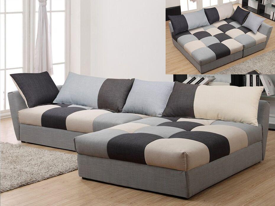 Canapé d angle convertible en tissu ROMANE Patchwork