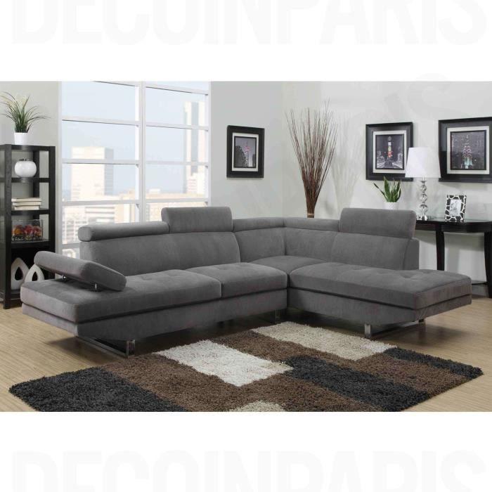 Canapé d angle design RUBIC en tissu gris Achat Vente