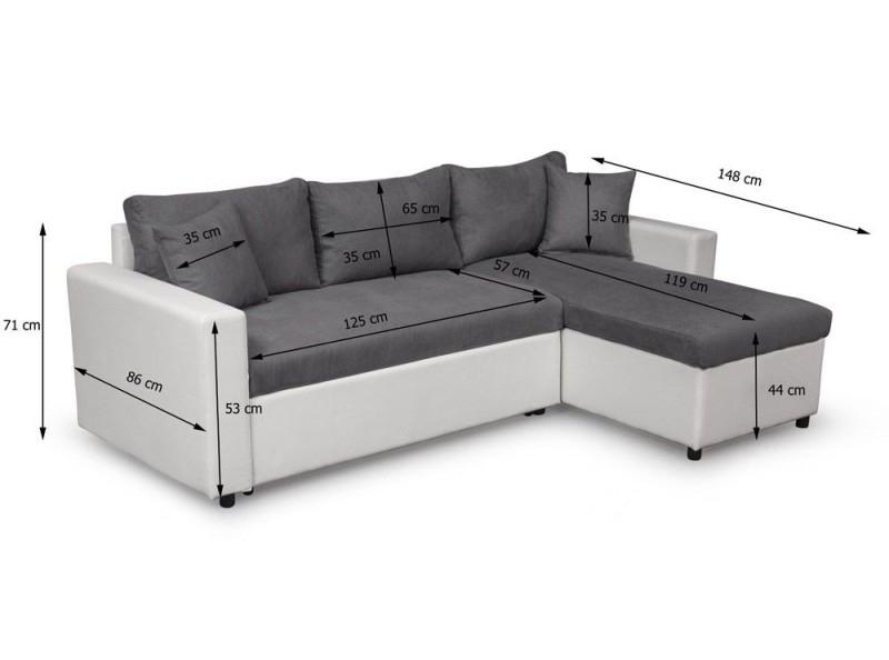 Canapé d angle réversible bi matière blanc et gris Hudson