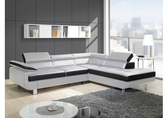 Canapé design d angle Studio cuir pu noir Canapés d