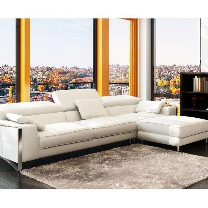 Canapé d angle cuir blanc design pieds chromé Achat