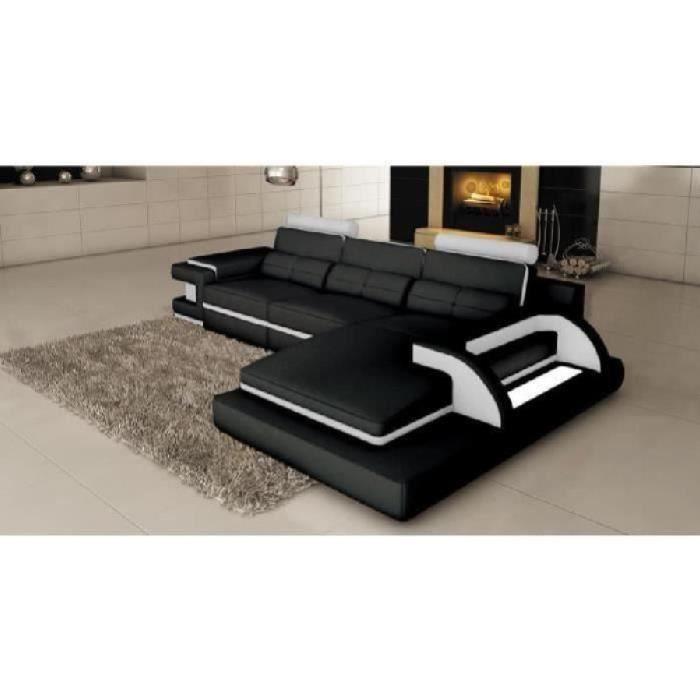 Canapé d angle cuir noir et blanc design avec lumière