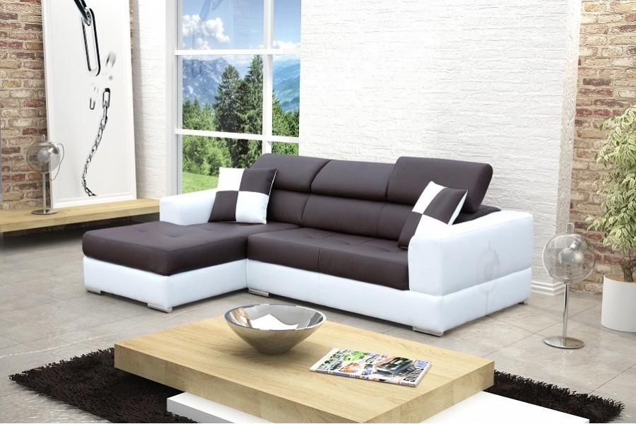 Canapé design d angle Madrid IV cuir pu Noir et blanc