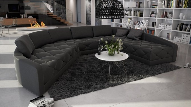 Canapé design d angle panoramique en cuir Leyde GdeGdesign