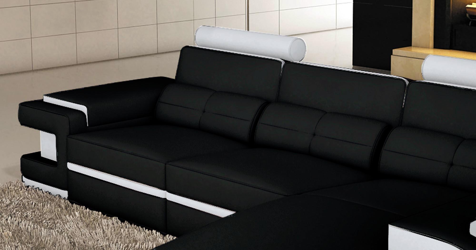 Canapé D Angle Cuir Design Deco In Paris 1 Canape D Angle Cuir Noir Et Blanc Design