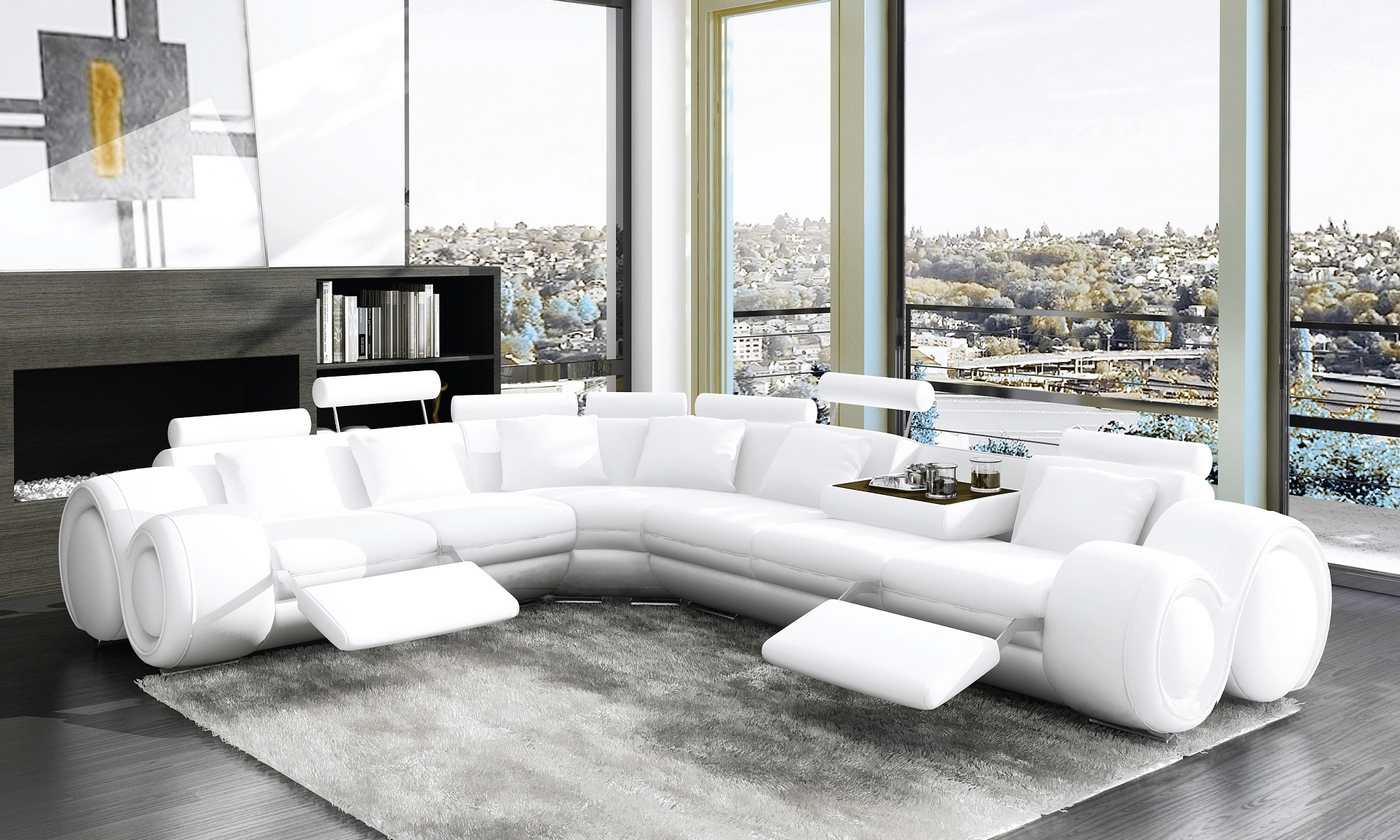 DECO IN PARIS Canape d angle cuir design blanc positions
