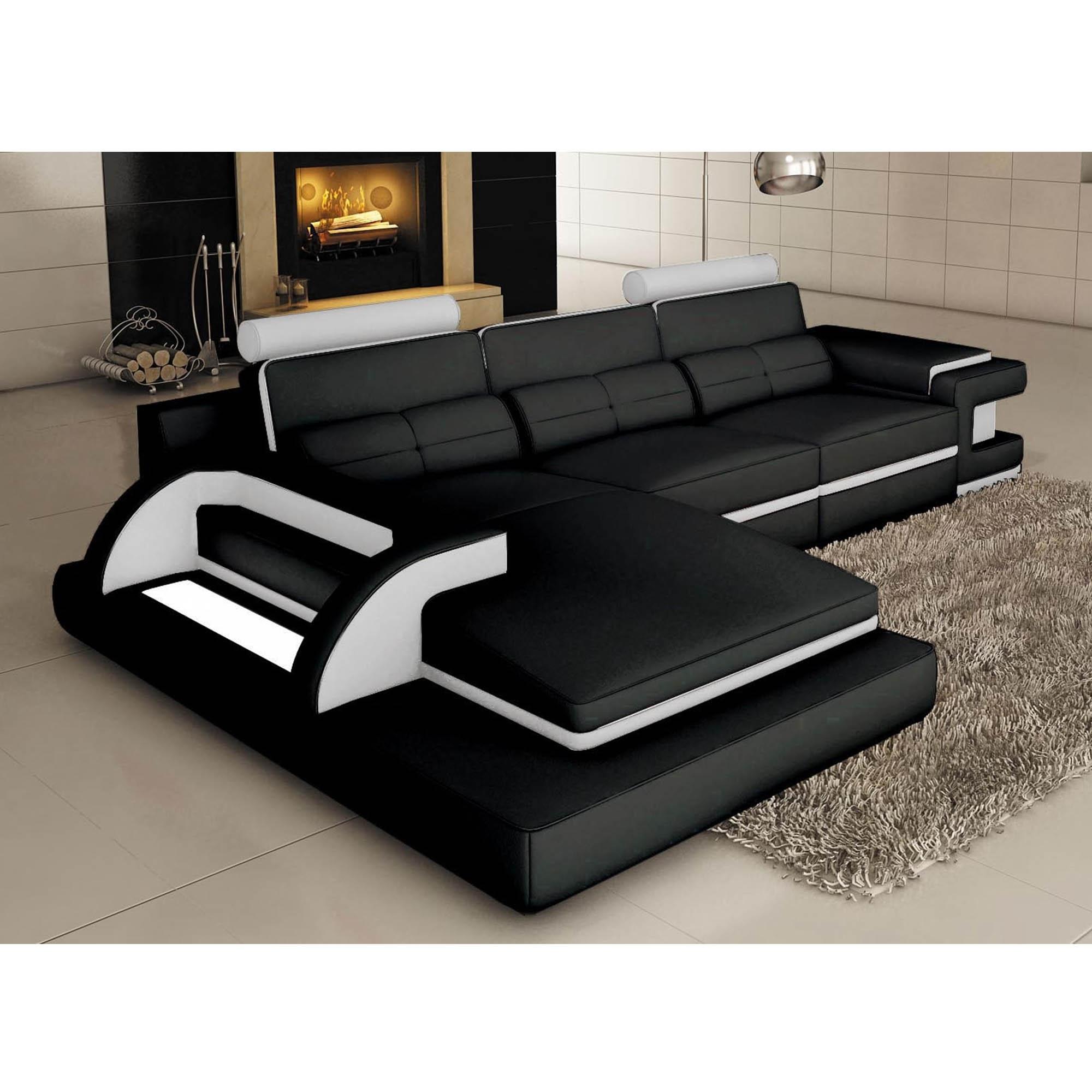 DECO IN PARIS Canape d angle cuir noir et blanc design