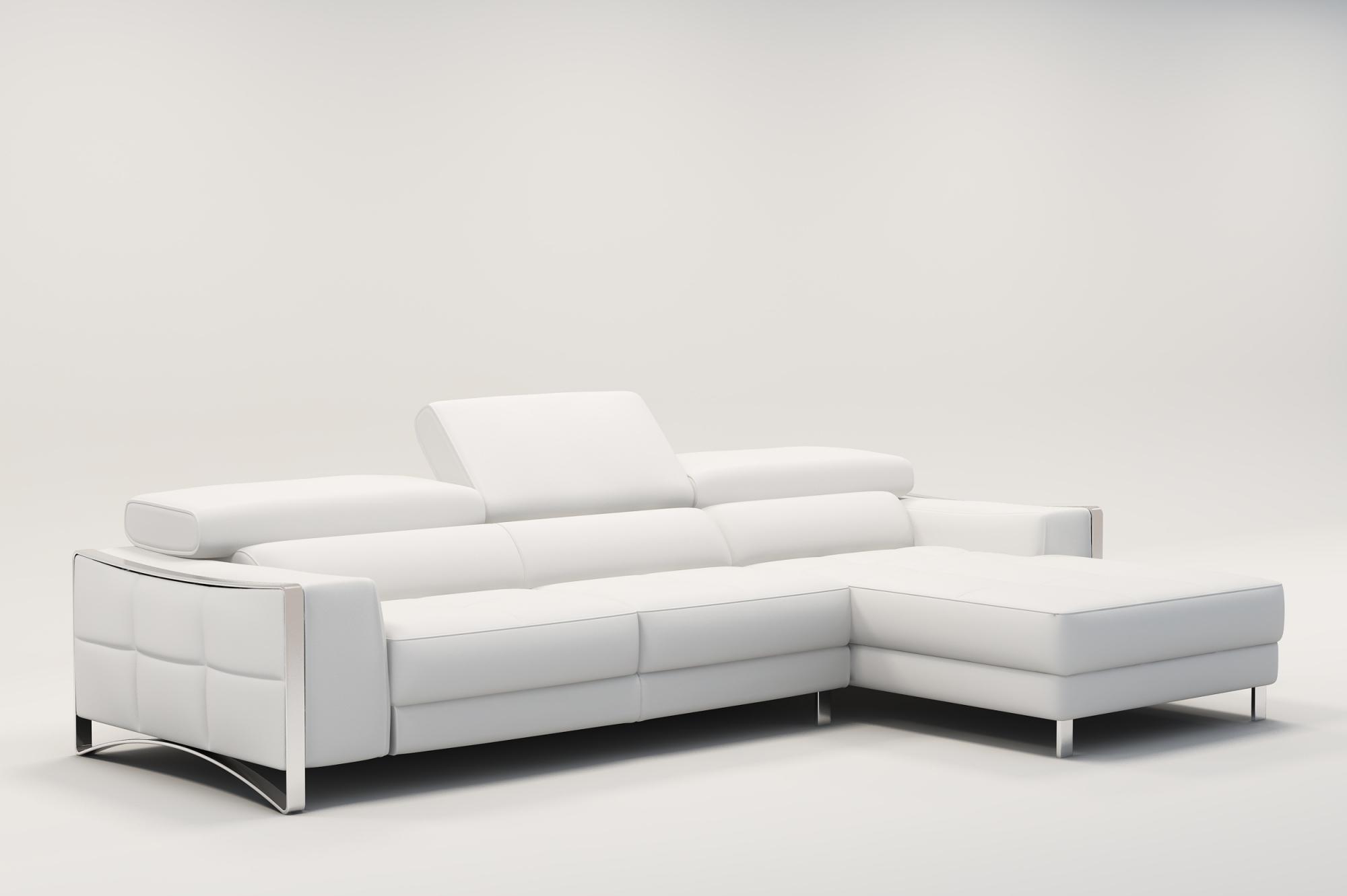 DECO IN PARIS Canape d angle design en cuir blanc sheyla