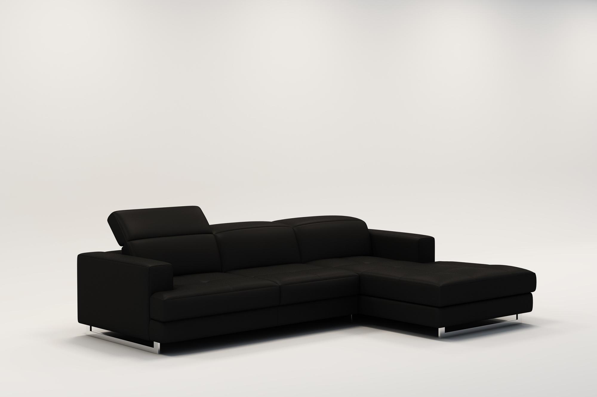 DECO IN PARIS Canape d angle design en cuir noir cris