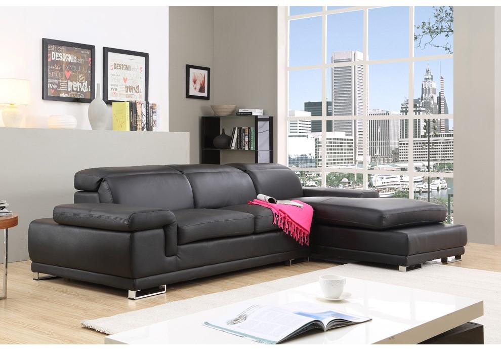Canapé d Angle en Cuir pas cher VESUVIO noir tetiere relax