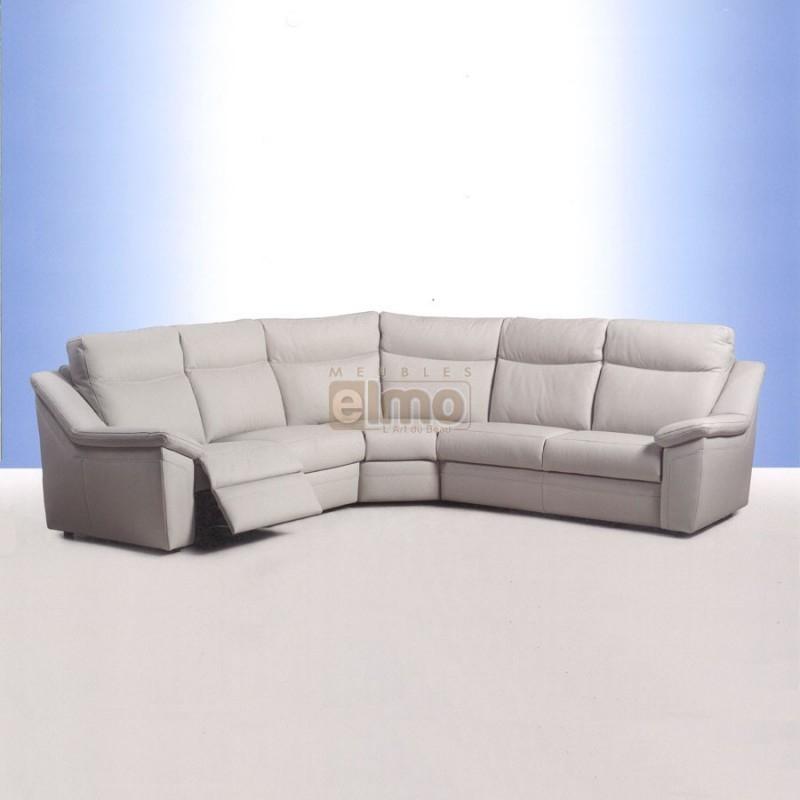 Canapé angle relax électrique option batterie dos au mur