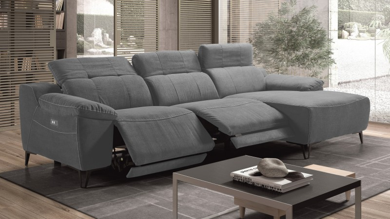 Canapé d angle de relaxation en tissu microfibre Faro