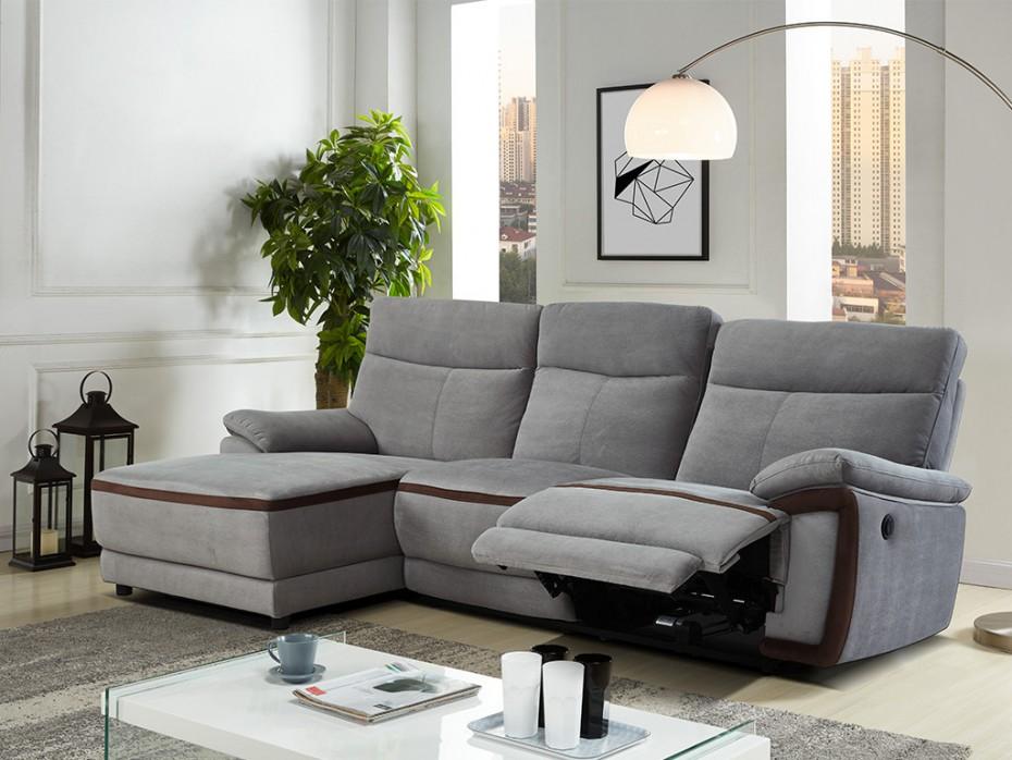 Canapé d angle gauche relax électrique en tissu gris PROVO