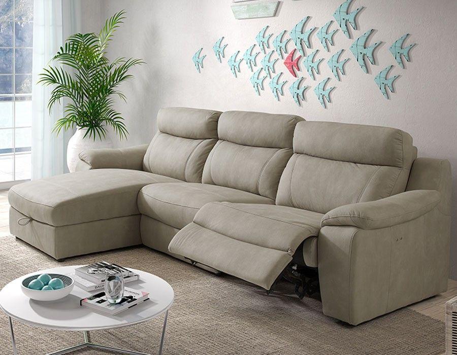 Canapé d'angle relax électrique avec coffre beige en tissu