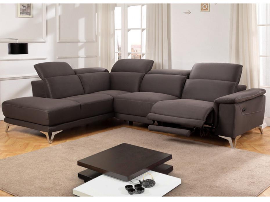 Canapé relax électrique en tissu chocolat angle droit BENY