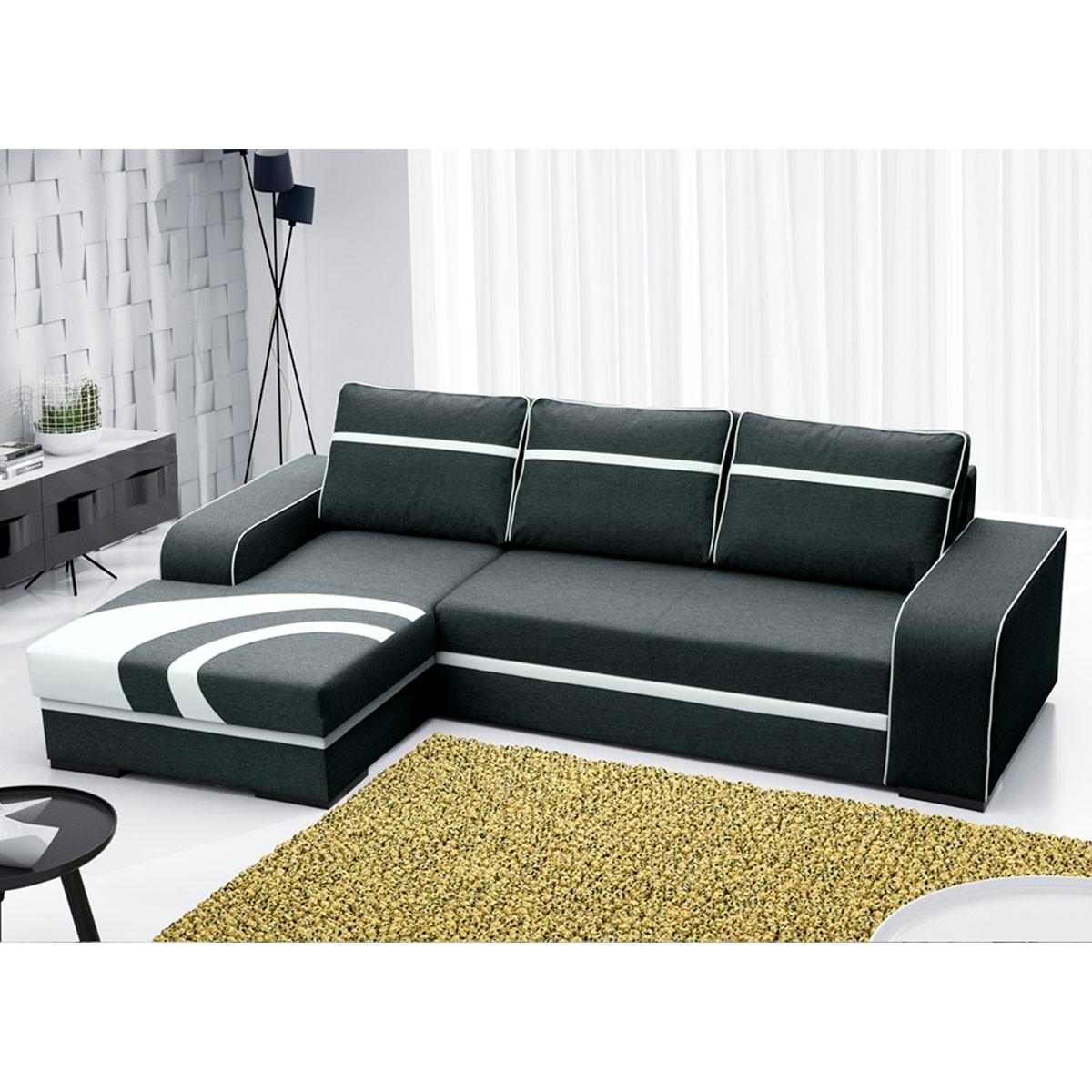 Canapé angle gauche convertible en tissu polyester noir