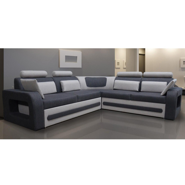 Canapé d angle convertible 5 places en tissu gris côté